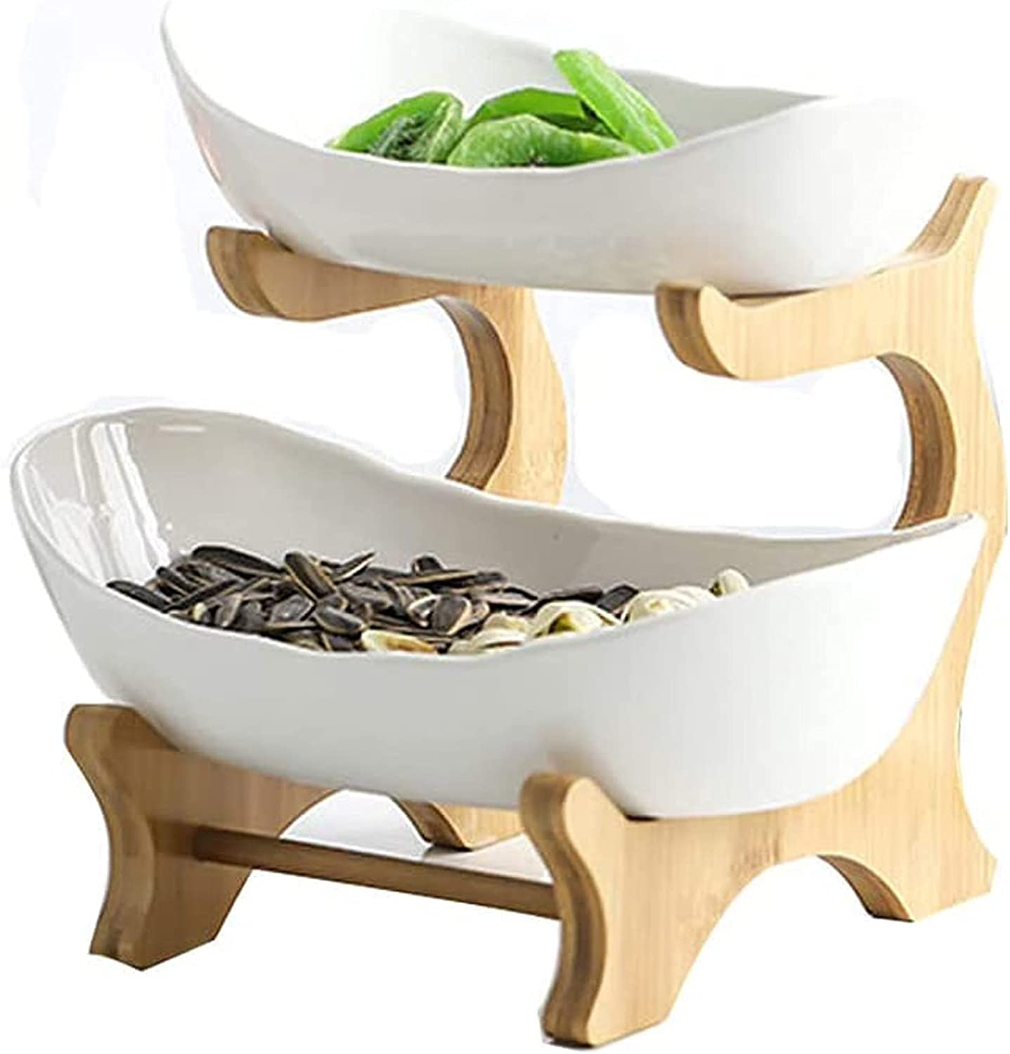 MOOLO Fruit Bowl, Fruit Basket Holder 2/3 Tier Bamboo Stand and Ceramic Tray Fruit Plate Tea Table Decoration for Party Food Server Display Set(Size:2 Layer,Color:White)