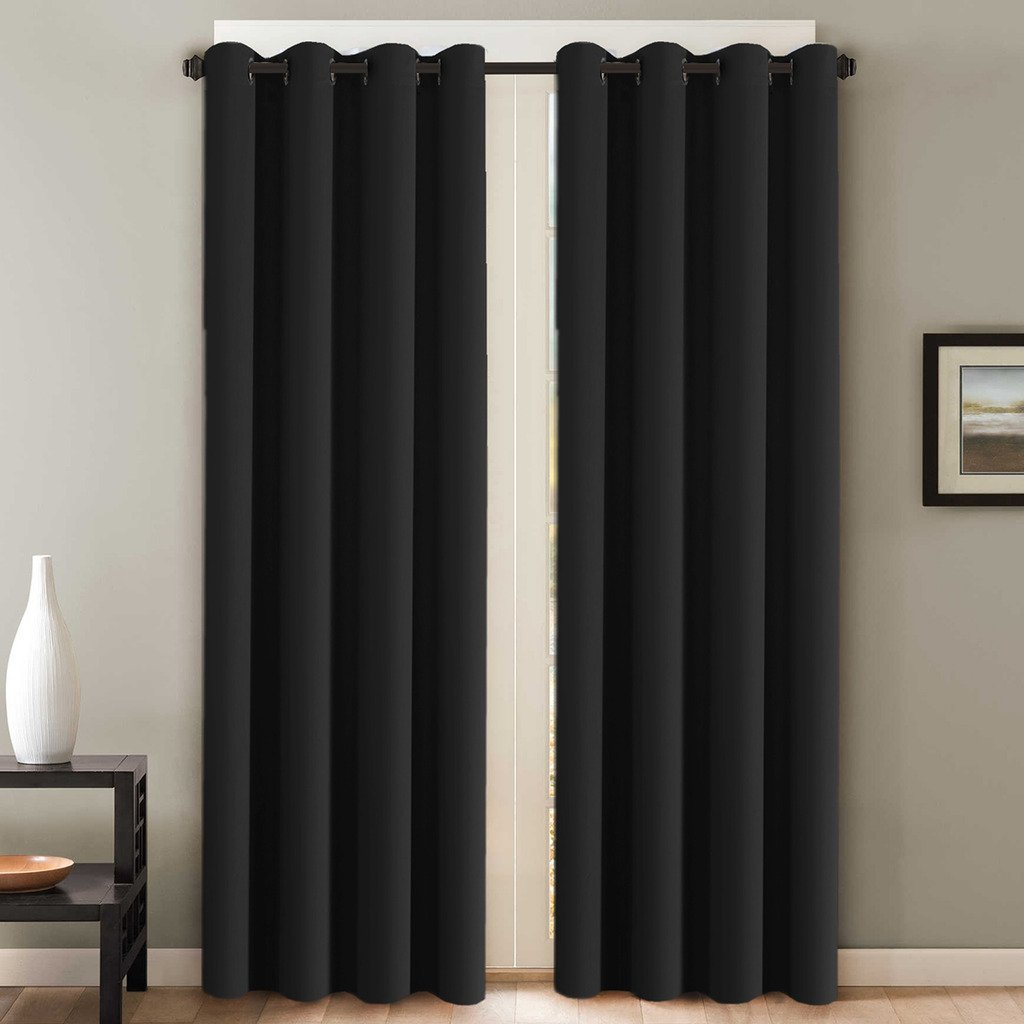 H.Versailtex Blackout Thermal Insulated Curtains (2 Panels) Grommet Window Drapes - (Solid Black Color