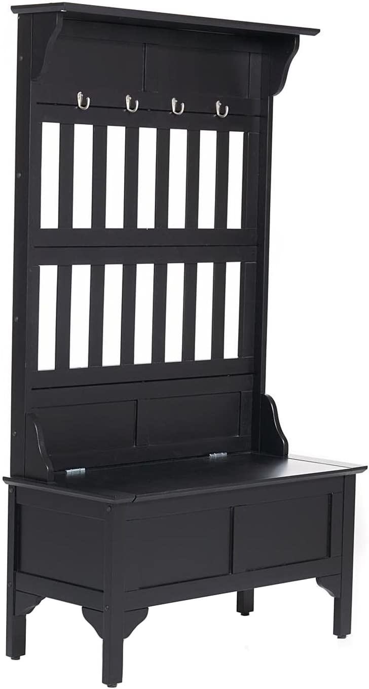 Home Styles Hall Tree and Storage Bench Constructed of Solid Hardwood, Black Finish, Safety Hinge, Four Large Brass Hooks