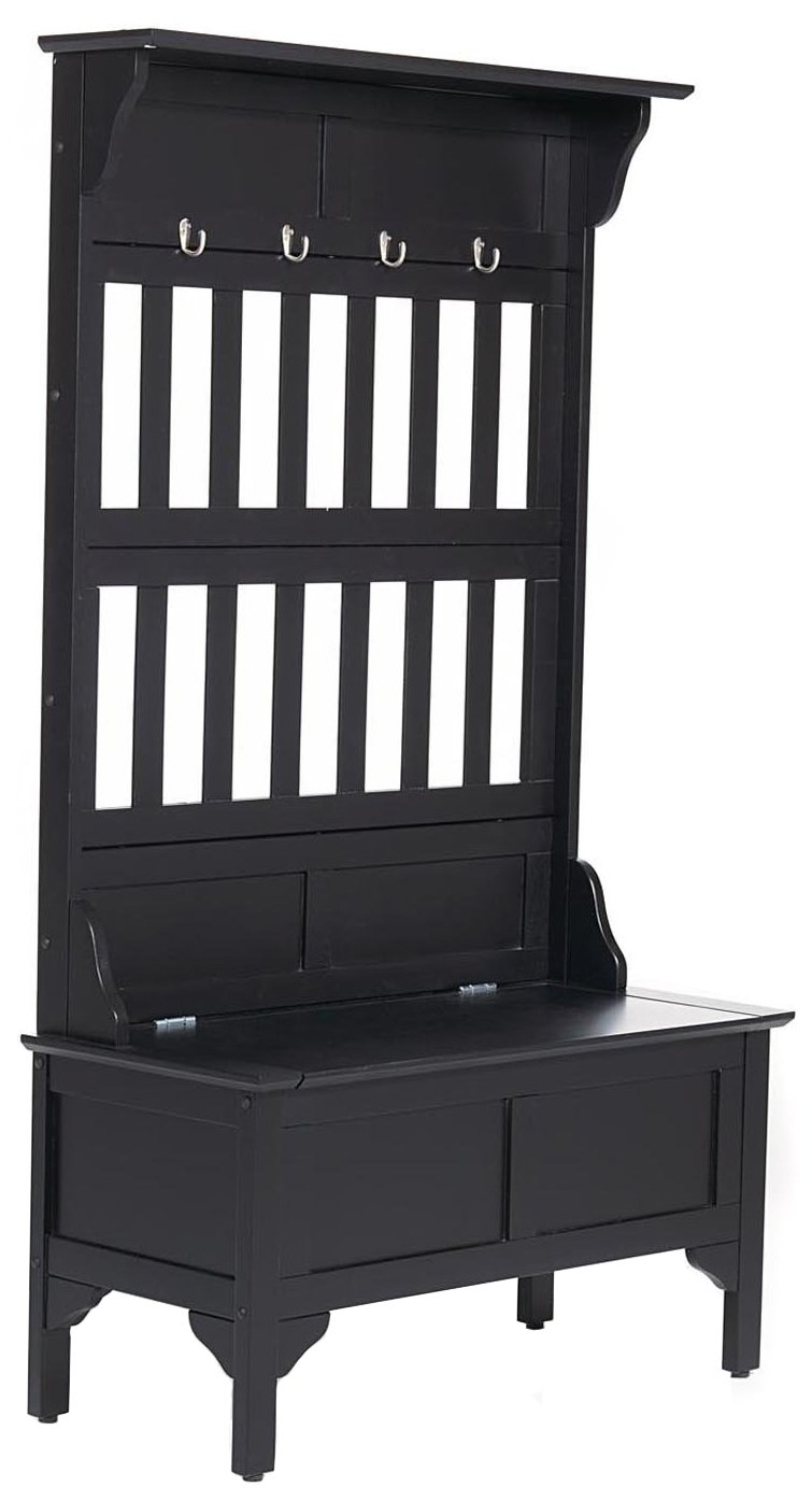 Black Hall Tree & Storage Bench by Home Styles by Home Styles