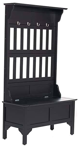 Home Style 5650 49 Full Hall Tree And Storage Bench, Black Finish