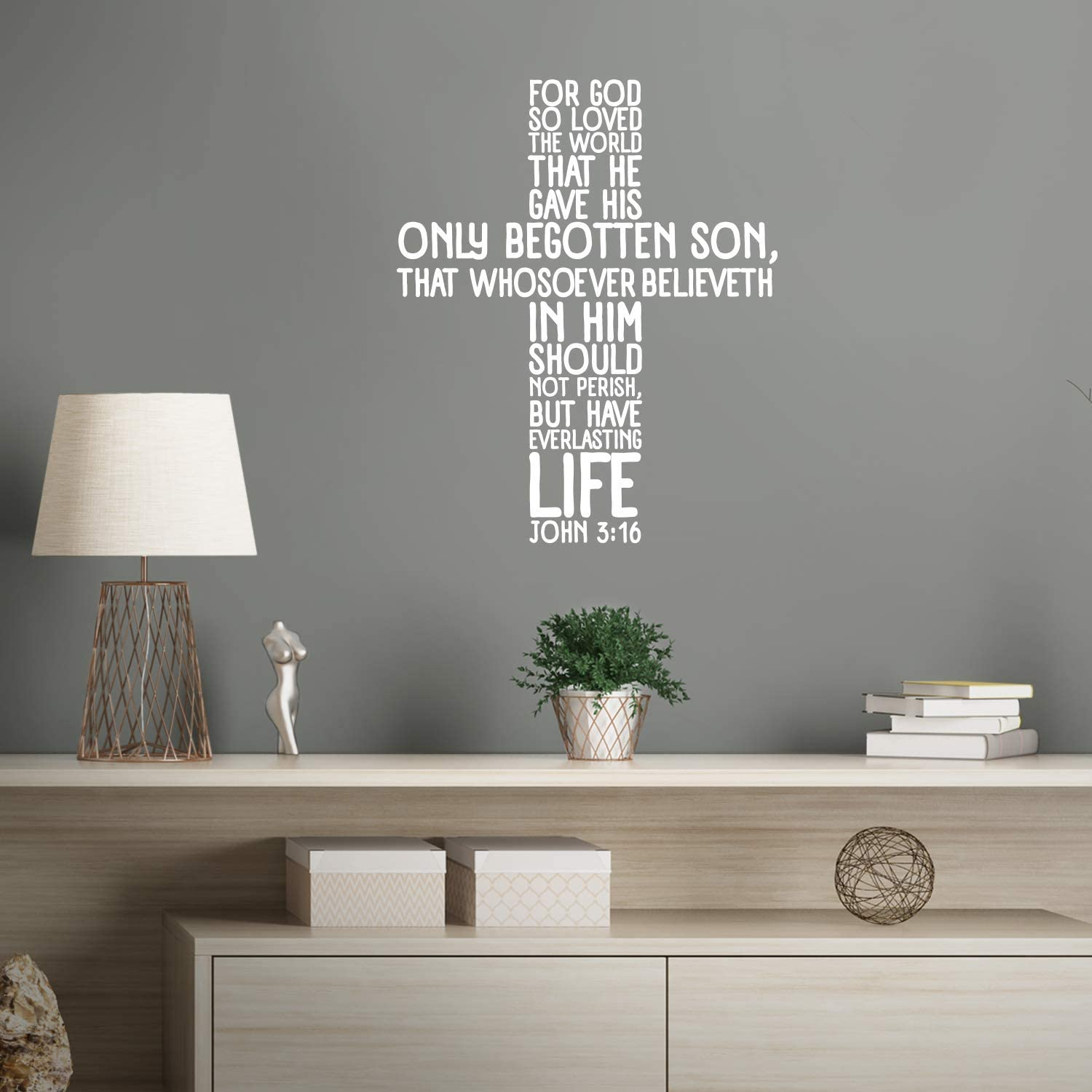 """Vinyl Wall Art Decal - John 3:16-28"""" X 23"""" - Religious Bible Verse Quote Sticker for Bedroom Living Room Kids Room Office Church Decor (White)"""