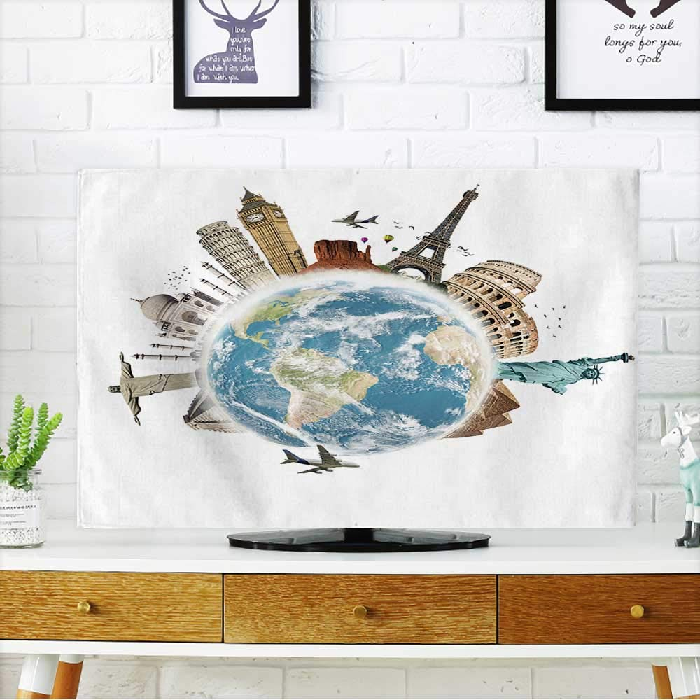 Dust Resistant Television Protector Planet Earth Travel The World Concept on White Background tv dust Cover W19 x H30 INCH/TV 32''