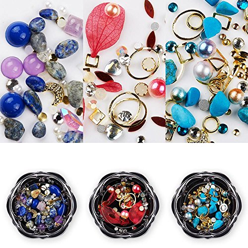 AiQueen 3 Wheels 3D Mixed Nail Art Rhinestones Glitters Crystals Beads Gems Nail Art Decoration Gemstones ()