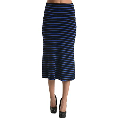 2LUV Women's High Waisted A-Line Knit Midi Skirt at Amazon Women's Clothing store