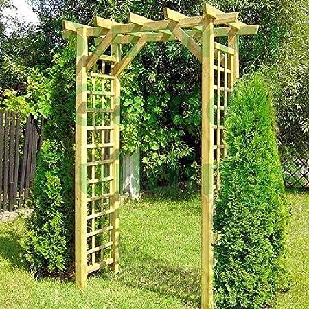 Arco de madera para jardín – Enrejado para planta enredadera con techo de pérgola, tratado a presión, resistente