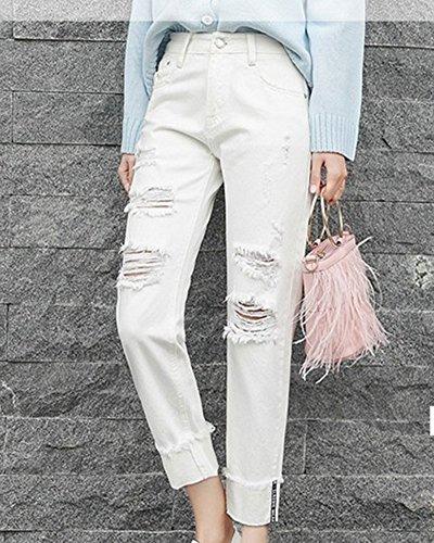 Amincissant Haute Femmes Cheville Jeans Lache La Mengmiao Afflig Longueur Taille Blanc Mince Droite fOYRx