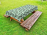 Lunarable Raccoon Outdoor Tablecloth, Cute Forest Animal Kids Playroom Nursery Boys Girls Baby Shower Toddler, Decorative Washable Picnic Table Cloth, 58 X 84 inches, Grey Almond Green