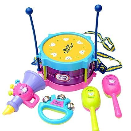 Decdeal - 5 unidades de mini instrumentos musicales para bebé, juguetes musicales de cuerno de