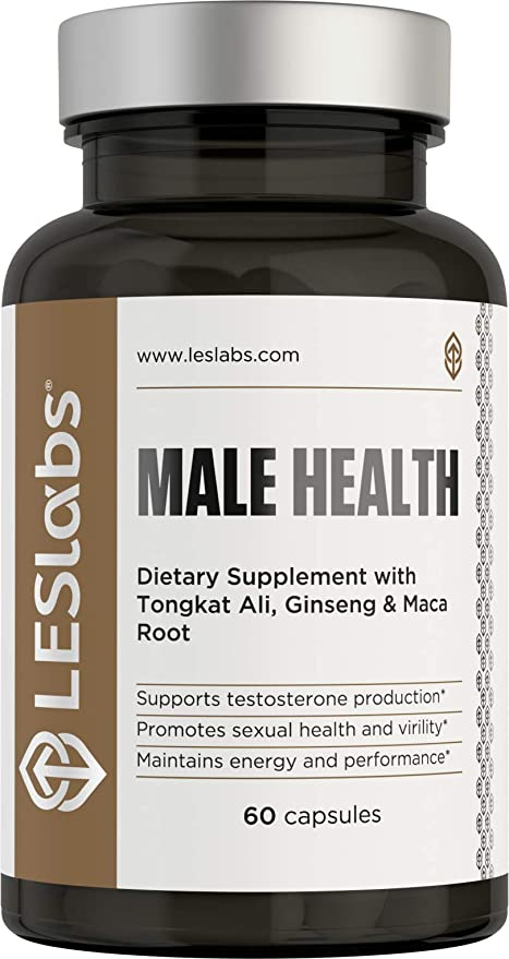 LES Labs Male Health, Testosterone Booster for Men, Strength, Endurance & Performance Supplement with Tongkat Ali, Maca & Ginseng, 60 Capsules