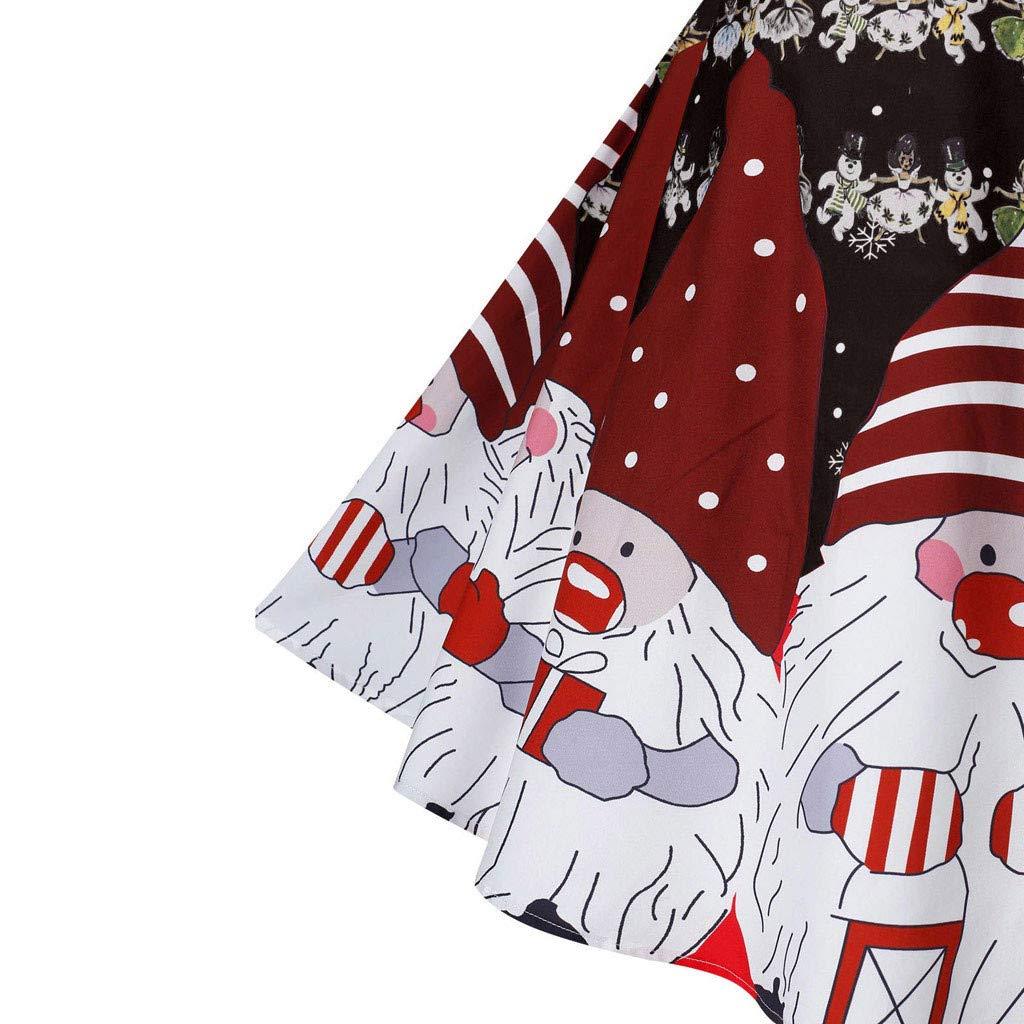LILICAT Donna Vestiti di Natale Lunga Maniche Abito Taglie Forti Midi Vestito da Donne Stampa Elegante Vintage Abiti Casuale Cocktail Party Dress Giuntura Senza Maniche Abito Blu,2XL
