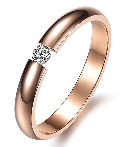 d47908b3291b KissDay ワンポイント GZ ダイヤモンドリング ステンレス ピンクゴールド レディース 人気 結婚指輪 シンプルファッション ファッション