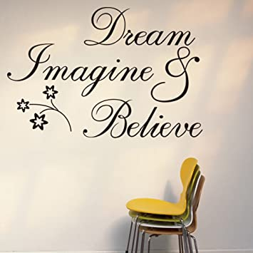Witkey Dream Imagine And Believe Inspirational Wall Decal Stickers Quotes Saying Words DIY Home Decor