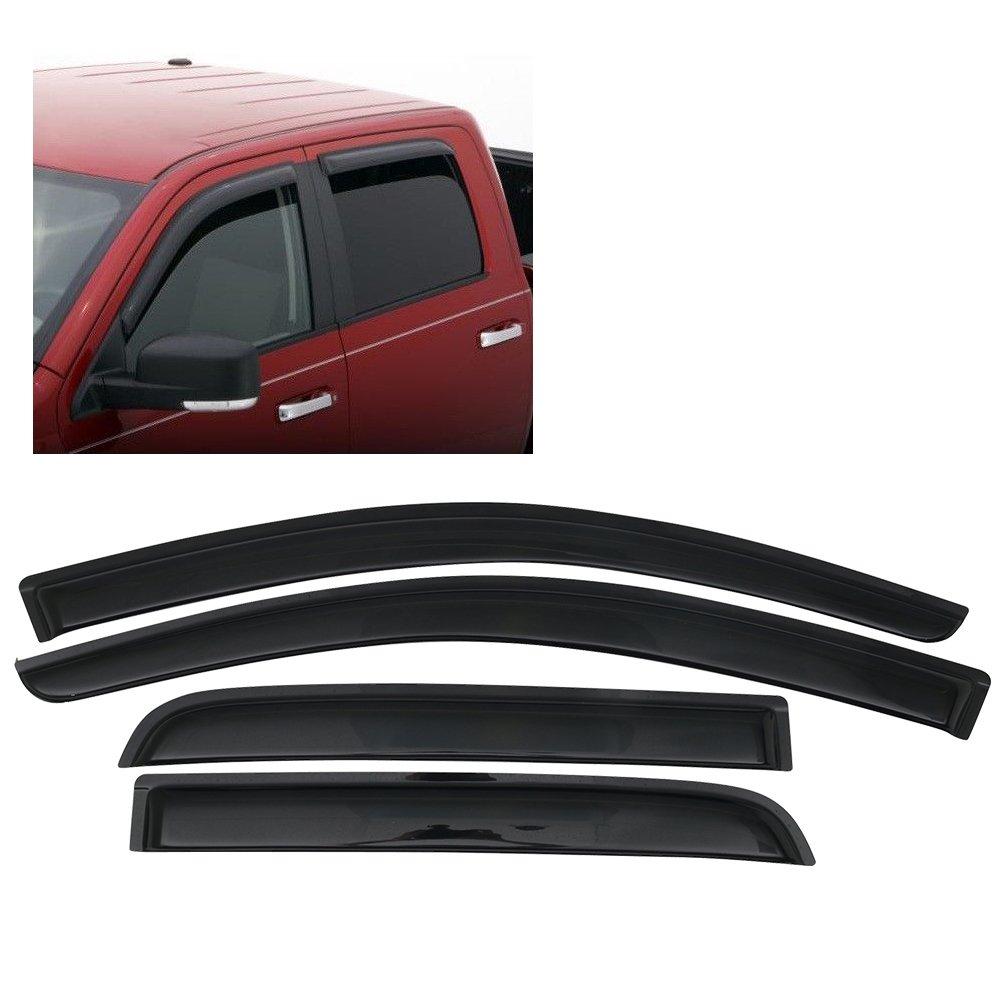 Window Visor Fits 2013-2018 Mitsubishi Mirage Hatchback | Slim Style Acrylic Black Sun Rain Wind Guards Cover 4Pcs Set By IKON MOTORSPORTS | 2014 2015 2016 2017