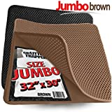 "Jumbo Size Cat Litter Trapper by iPrimio - Litter Mat, EZ Clean Cat Mat, Litter Box Mat Water Proof Layer and Puppy Pad Option. Patent Pending. (32""x30"" Brown)"