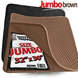 Jumbo Size Cat Litter Trapper by iPrimio - Litter Mat, EZ Clean Cat Mat, Litter Box Mat Water Proof Layer and Puppy Pad Option. Patent Pending. (32'x30' Brown)