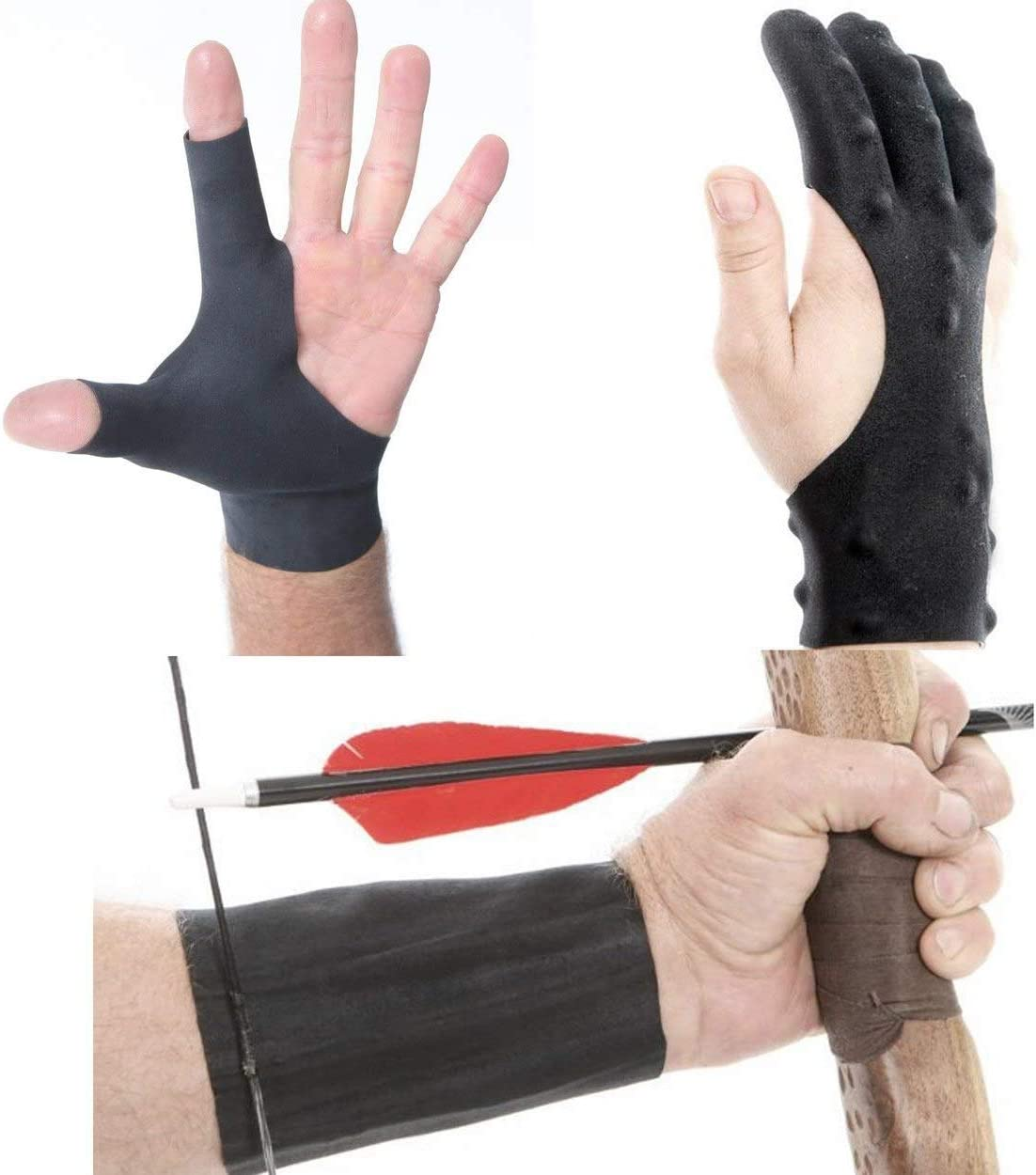Leather Left Hand 2-Finger Glove Silicone Archery Finger Guard Protector