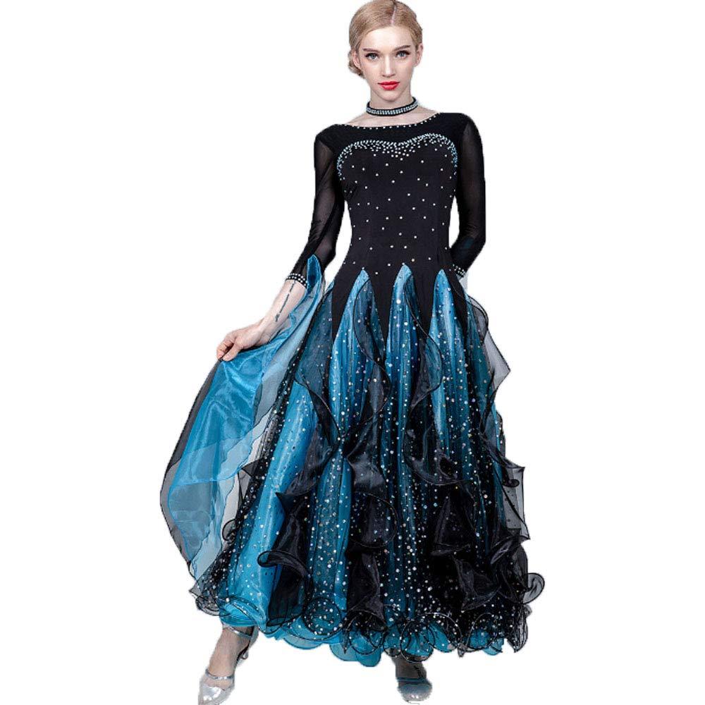 ボールルームラテンバレエワルツルンバ、XXXLのためのスパンコールのついたプリーツプリーツスパンコール付きバレエダンスドレスと女性の典礼の夜会服のヴィンテージドレス B07R478Q1S