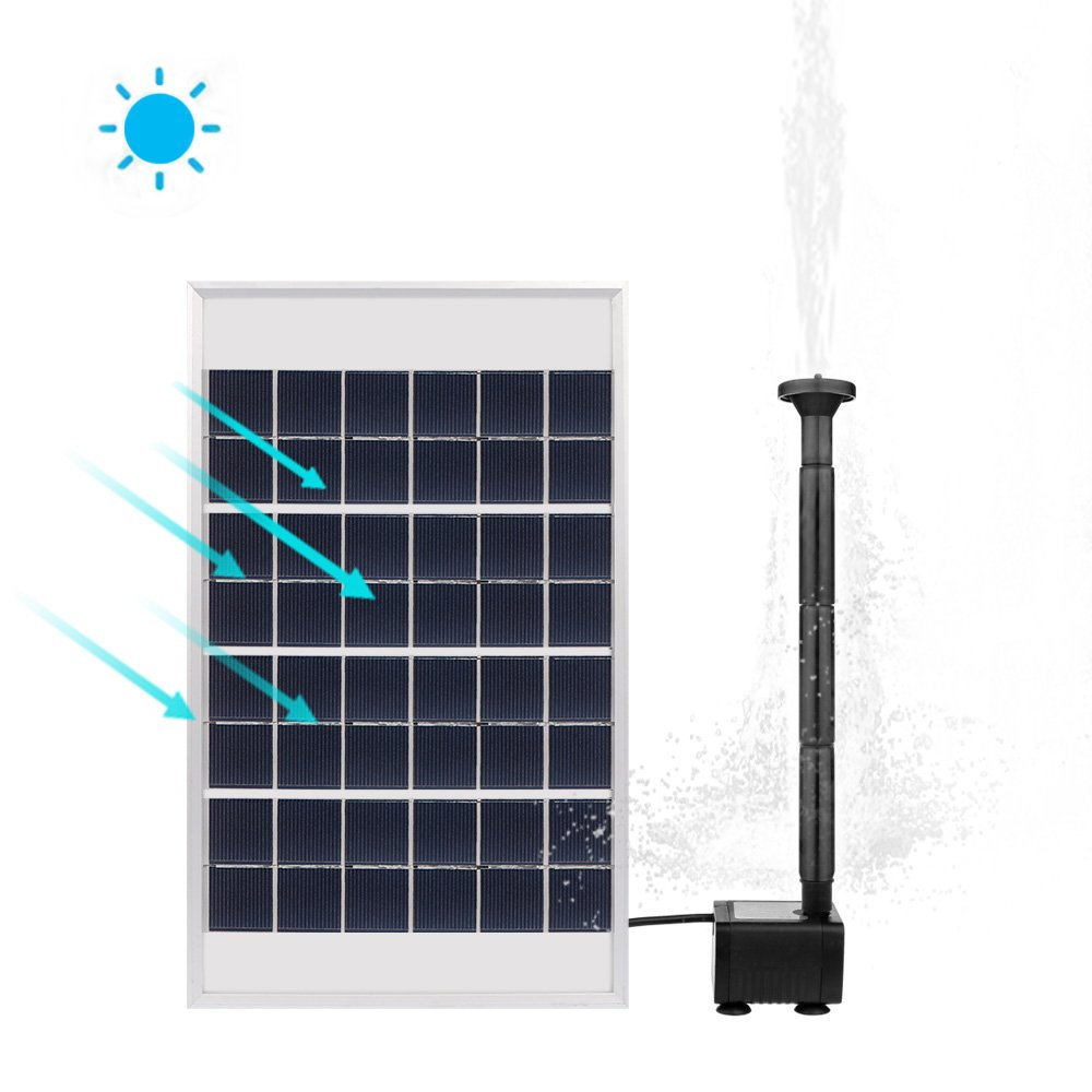 Houkiper 5W/2W Solar Fountain Pump Garden Water Pump for Pond Birdbath, Maximum Flow 380L/H,200L/H 60MM/55MM (2W)