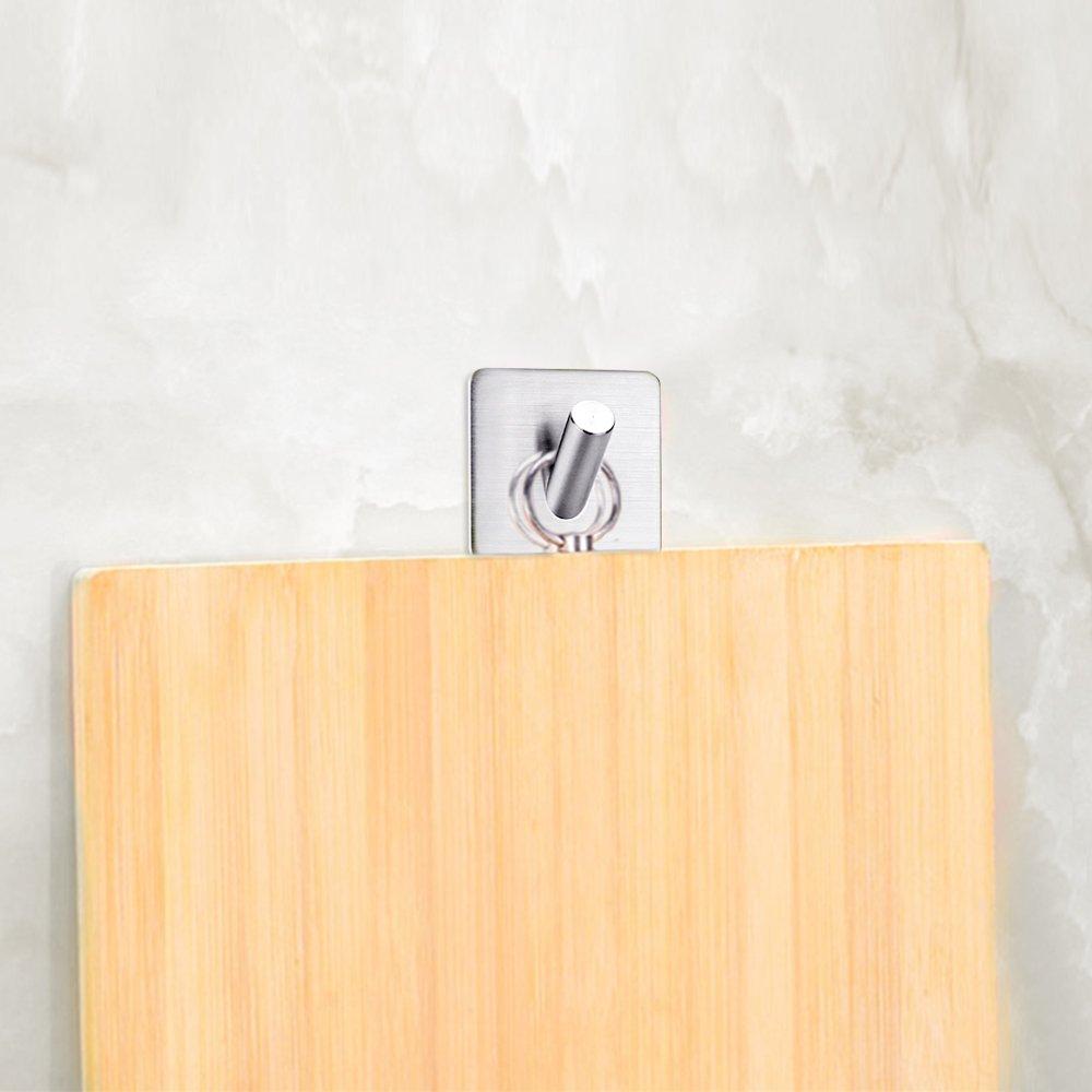 FOTYRIG Heavy Duty Adhesive Wall Hooks Hangers Stainless Steel Towel Hooks Stick On Home Bathroom Kitchen for Dog Leash, Umbrellas, Scarves, Towels, Robes, Bags, Coats, Keys, Calendars -4 Packs by FOTYRIG (Image #6)