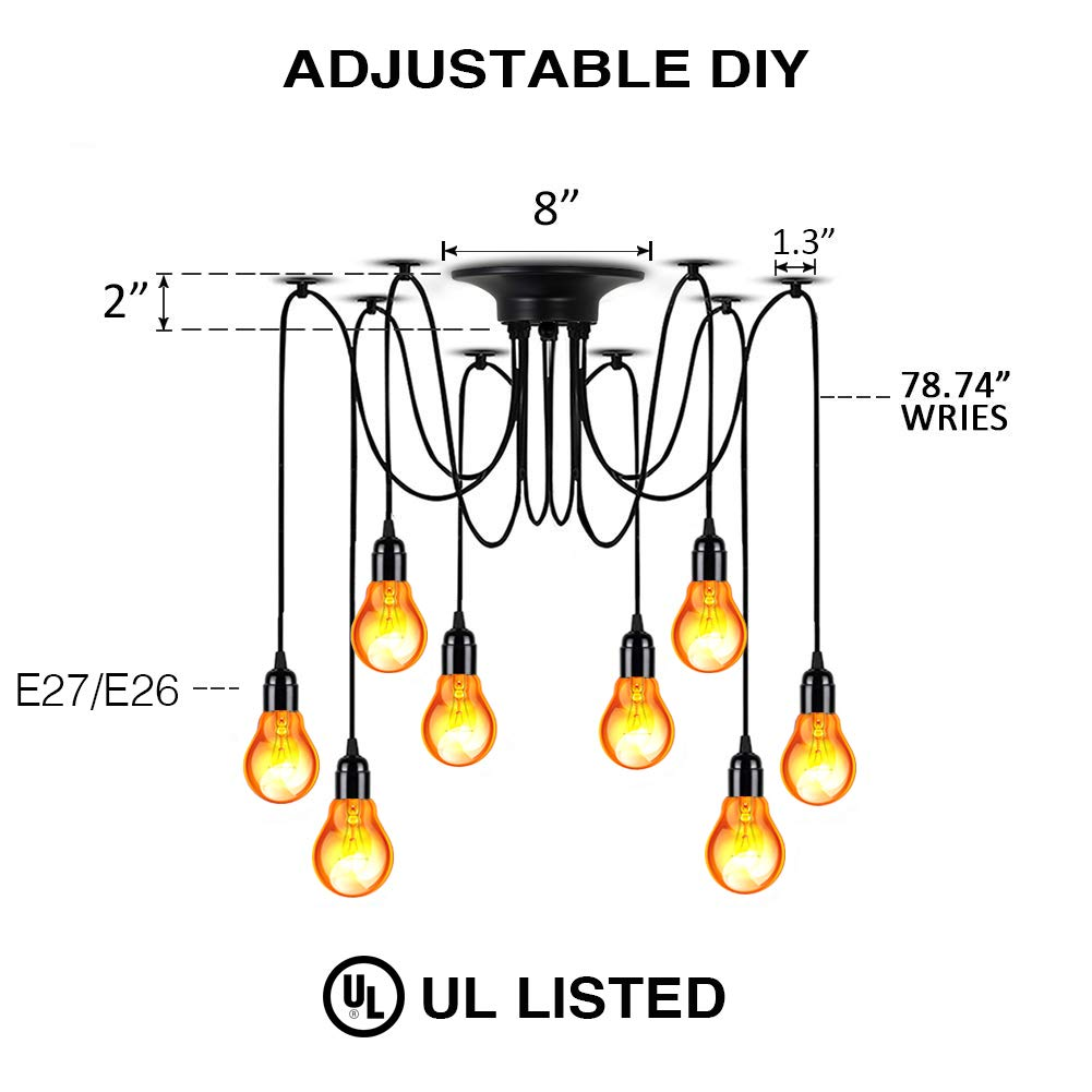 LAMPCHOICE 8 Arms Spider Light Lamps Vintage Edison Style Adjustable DIY Ceiling Spider Pendant Lighting Rustic Edison Chandelier Pendant Each with 78.74 Wire