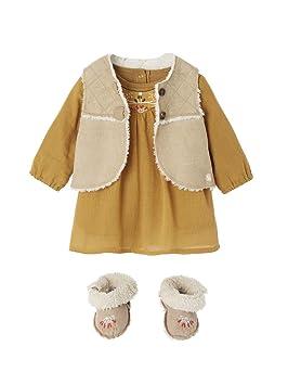bd58fde10b500 VERTBAUDET Ensemble bébé robe crépon + gilet sans manche + chaussons brodé  Naturel jaune moutarde