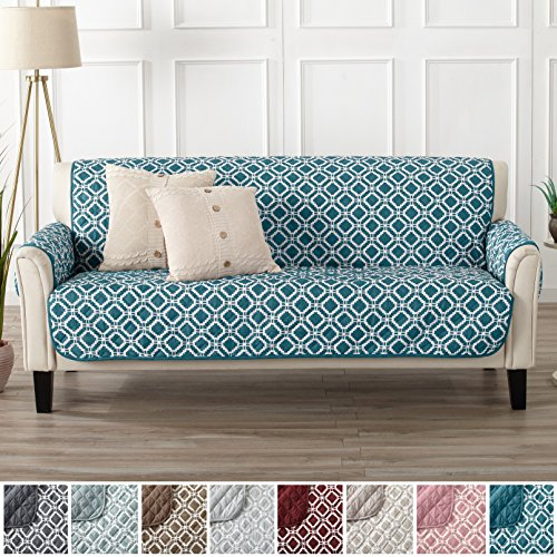 Modern Printed Reversible Stain Resistant Furniture Protector with Geometric Design. Perfect Cover for Pets and Kids. Adjustable Elastic Straps Included. Liliana Collection (Sofa, Teal / Optic (Microfiber Sofa Collection)