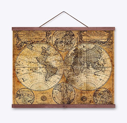 WEIYI Retro Ancient World Map Cloth Poster Mural Nautical Map for Home Decor