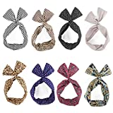 Yeshan Bunny Ear Twist Bow Wired Headbands Scarf Headwrap Hairband Hair Accessory,Pack of 8