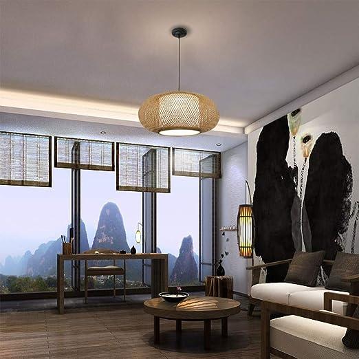 Amazon.com: RUNNUP - Lámpara de techo de mimbre, diseño ...