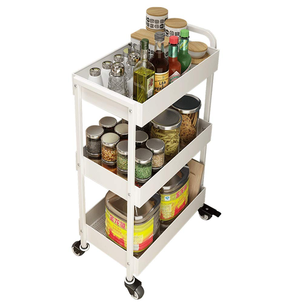 Multifunctional Movable Three-Tier Kitchen Storage Rack, Household Flexible Mobile Trolley, Suitable for Living Room, Kitchen, Bathroom, 452884Cm