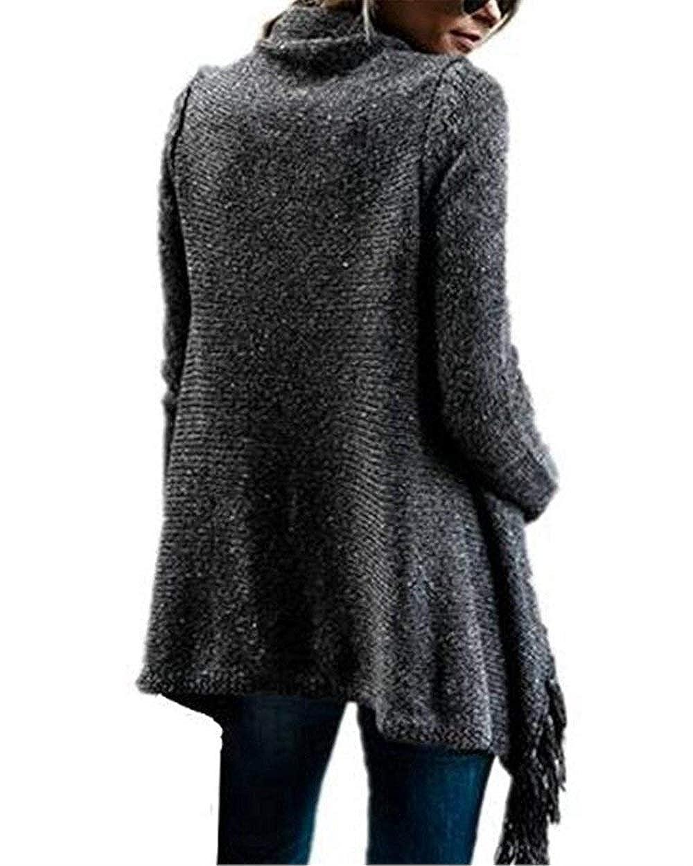 BOLAWOO Donna Pullover Autunno Invernali Bohemian Tassels Poncho Mode di Marca Fashion Puro Colore Sciolto Tempo Libero Fashion Vintage Manica Lunga Maglieria Pullover