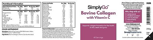 Colágeno con Vitamina C 200gr - Colágeno en polvo de gran concentración - Articulaciones, piel y dientes - para mezclarlo con tu bebida favorita - SimplyGo ...