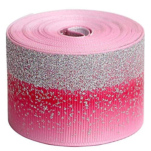 (Tvoip Tie Dye Glitter Rainbow Polyester Grosgrain Tape Ribbon Grosgrain Ribbons 1-1/2