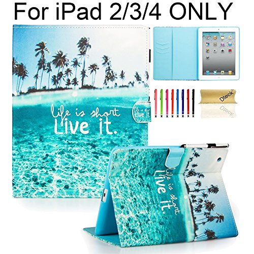 iPad Case, iPad 2/3/4 Case, Dteck PU Leather Kickstand Case Auto Sleep/Wake Function Flip Folio Protect Shell Magnetic Closure Wallet Smart Cover for for iPad 4th Generation,iPad 3 & iPad 2 - Live it (Best Price Ipad 4th Generation)
