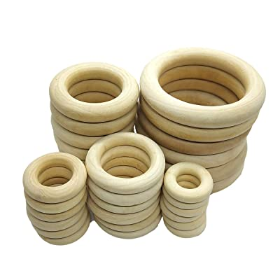 Alenybeby 60pcs Natural Wood Rings Circle Teether for DIY Baby Teething Necklace Craft, Ring Pendant and Connectors Jewelry Making, 5 Size (60pcs): Toys & Games