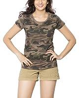Clifton Womens Army T-Shirt R-Neck - Walnut