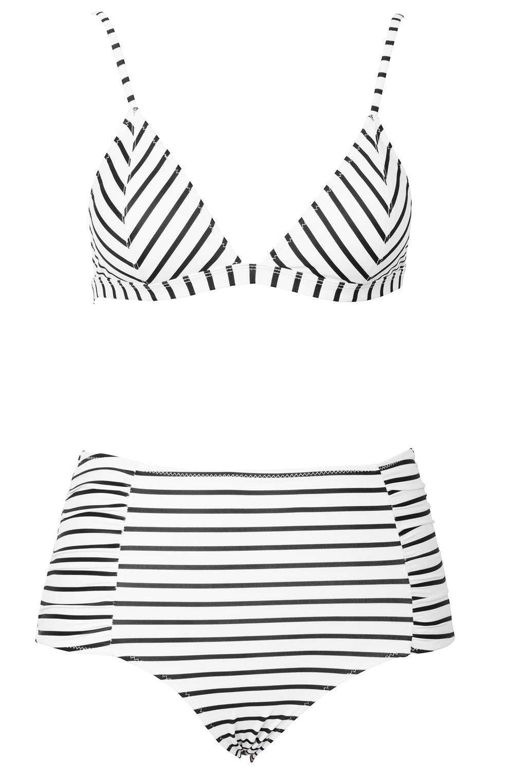 5d43e00636 Cupshe Fashion Women's Stripe Pattern High-waisted Bikini Set Beach Swimwear  (S), Multicolor < Swimsuits & Cover Ups < Clothing, Shoes & Jewelry - tibs