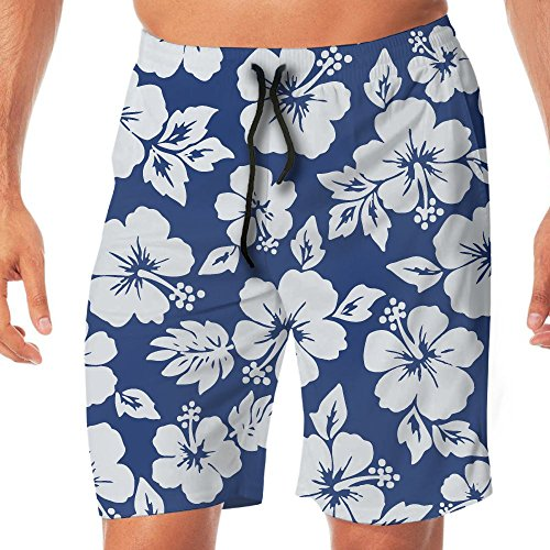 STDKNSK9 Men's Hibiscus Flowers Seamless Pattern Board Shorts Beach Shorts No Mesh Lining