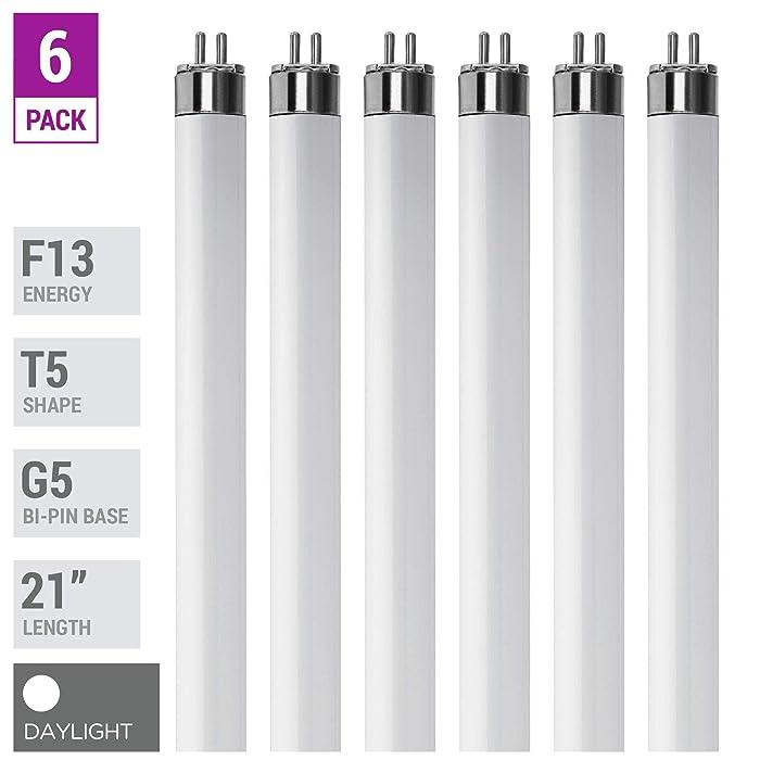 """(Pack Of 6) F13T5/D - T5 Fluorescent 6500K Daylight - 13 Watt - 21"""" Super Long Life Light Bulbs"""