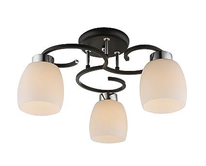 Deckenlampe 3 flammig küchenlampe 48 cm glas lampenschirme
