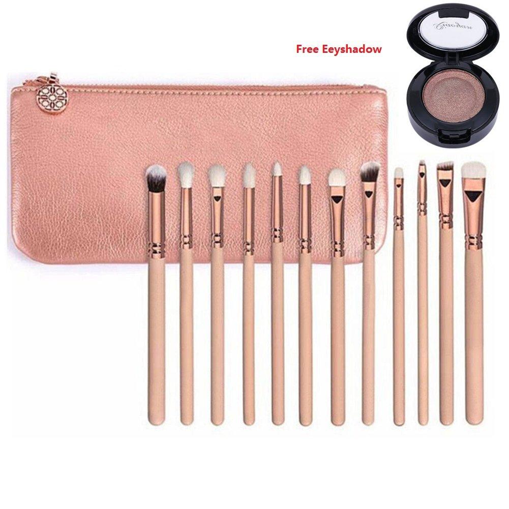 Pinceaux de maquillage 12pcs Professional Rose Set de luxe d'or Marque Make Up Kit d'outils Powder Blend Brosses cosmétiques SET DE LUXE (12pcs rose)