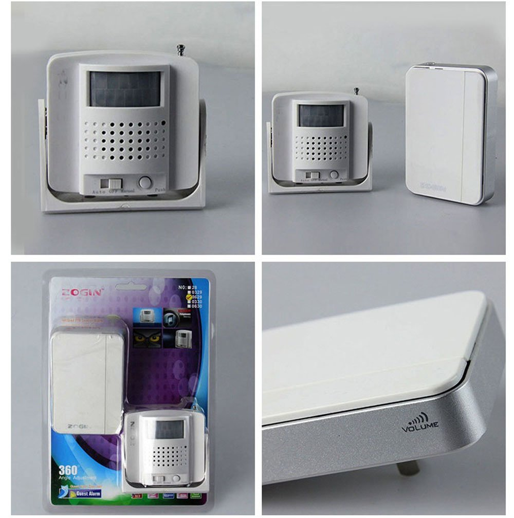 Yunzhicheng Wirelesss PIR Infrared Motion Sensor Alarm Detector Door Bell Guest Chime with Ac Receiver White
