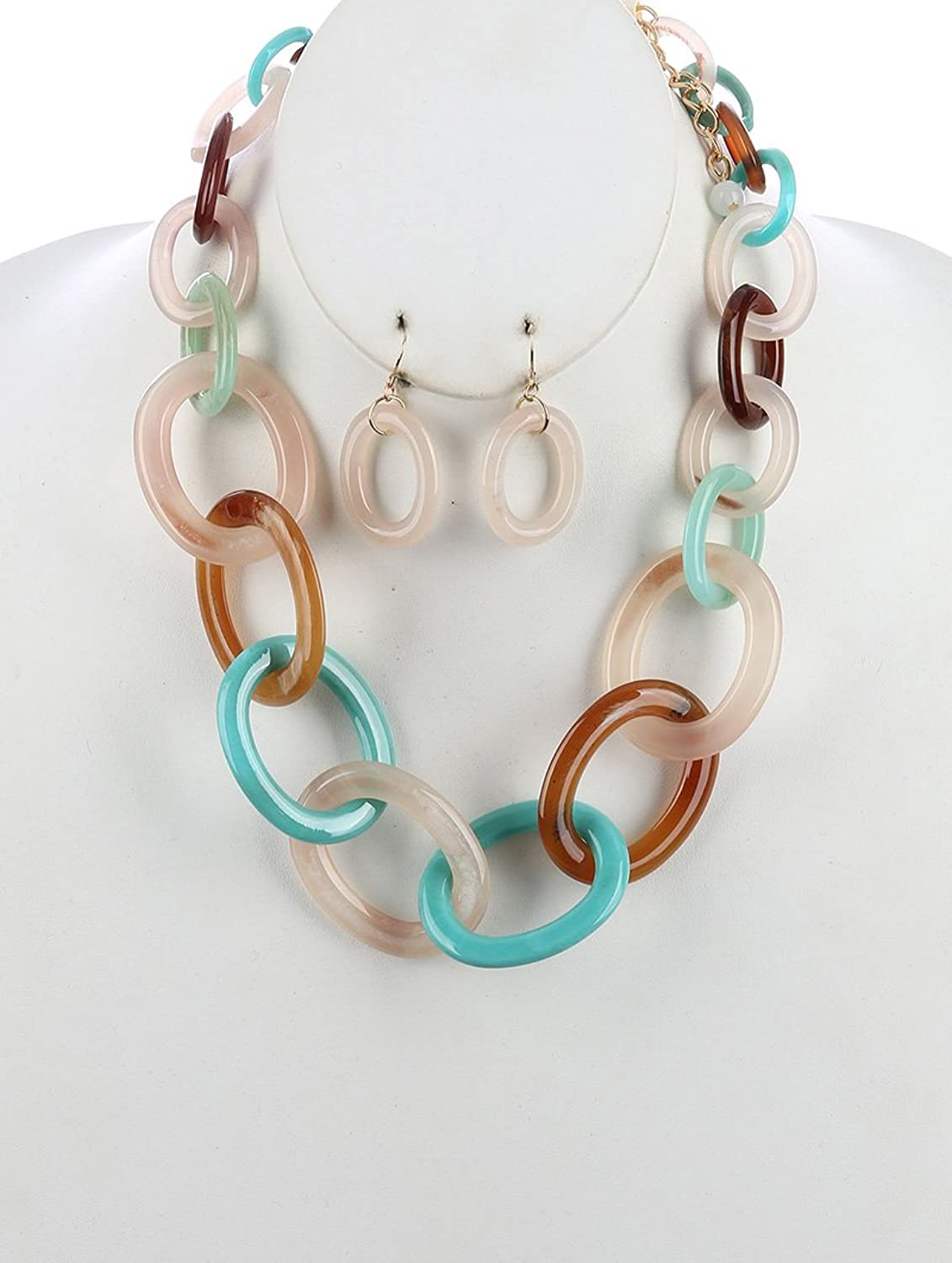 Multi chain lucite chunky link necklace and earring set Fashion Jewelry FancyCharm