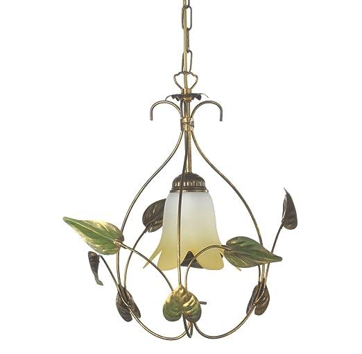 onli Mira lámpara de techo Calatina de metal marfil spennellato Decoración Hojas Verdes, marrón y dorado