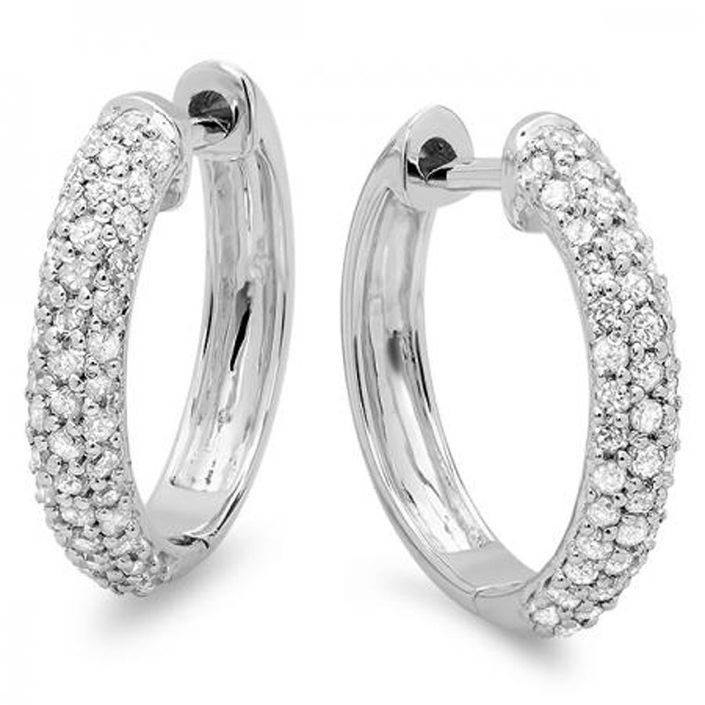 0.50 Carat (ctw) 14k White Gold Round Diamond Ladies Pave Set Huggies Hoop Earrings 1/2 CT