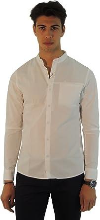 Calvin Klein - Camisa Casual - Básico - Cuello Mao - Manga Larga - para Hombre Blanco XL: Amazon.es: Ropa y accesorios