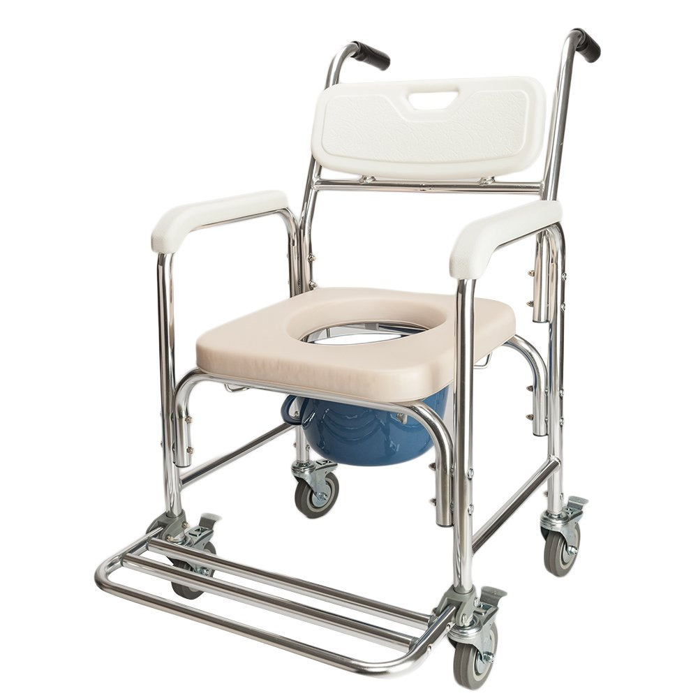 OvMax Portable 4 in 1 Multifunctional Professional Commode Chair for Toilet with Padded Seat,Removable Bath Chair with Wheel,Heavy Duty 300 lbs,Designed for Elder Disabled People Pregnant Women