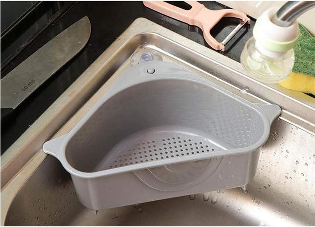 Agelloc 2pcs Sink Basket Multifunctional Triangle Drain Shelf Sink Storage Rack Sucker Storage Holder Corner Hanging Shelf Soap Box for Kitchen Bathroom