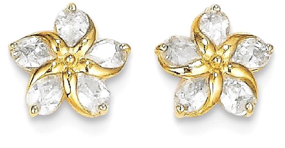 ICE CARATS 14k Yellow Gold Cubic Zirconia Cz Flower Post Stud Earrings Gardening Fine Jewelry Gift Set For Women Heart